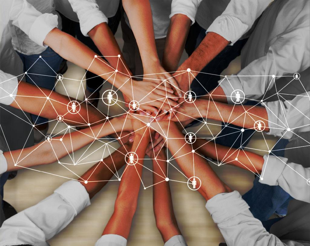 顧問先ネットワークとチームワークのイメージ